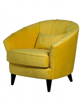 Кресло велюровое ZW-555-06476 желтое