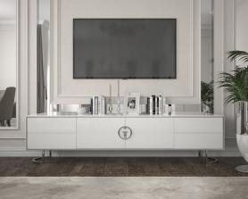 Тумба под телевизор Garda Decor белая с хром GD-TV003