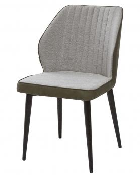 Стул-кресло RIVERTON светло-серый меланж FC-01/экокожа хаки RU-04