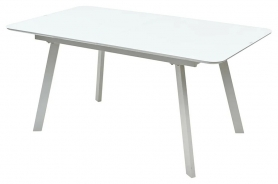 Стол ARUBA 160 WHITE / cупер белое глянцевое стекло