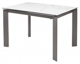 Обеденный стол CORNER 120 глянцевая керамика под Белый мрамор