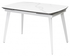 Стол ELIOT 120 керамика белый мрамор, глянцевый