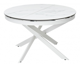 "Стол TRENTO 120 HIGH GLOSS STATUARIO керамика ""под мрамор"" глянцевая/ белый каркас"